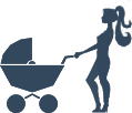 Woman pushing MK Nannies Buggy icon png